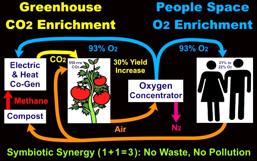 Greenhouse CO2 Enrichment and People Space Oxygen Concentrator O2 Enrichment